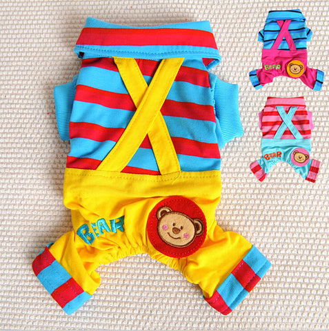 Preppy Bear Striped Dog Jumpsuit/Romper