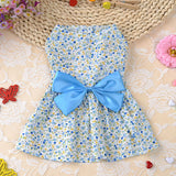 Lovely Pink or Blue Floral Print w/ 3-D Bow Dog Dress