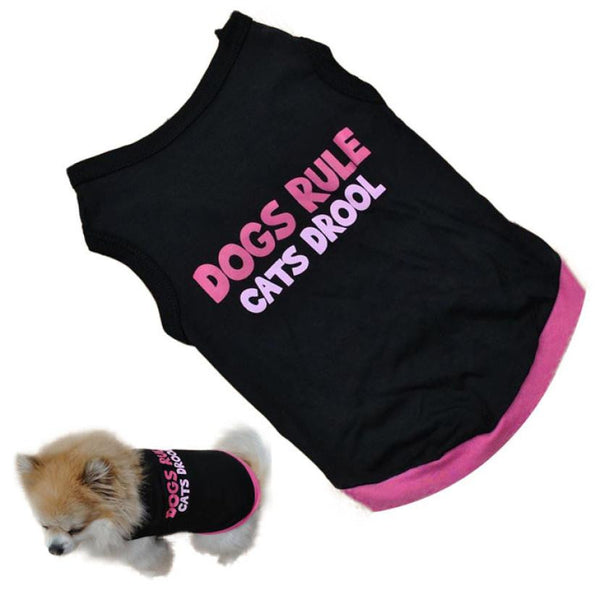 "Funny ""Dogs Rule, Cats Drool"" Dog T Shirt"