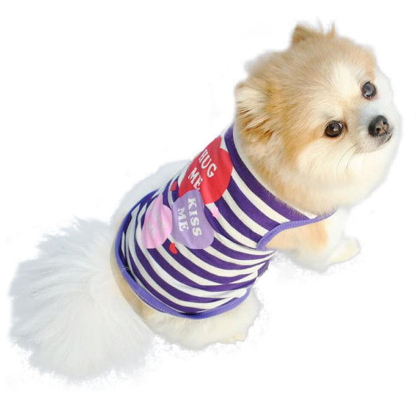 "Cute ""Hug Me, Kiss Me, Love Me"" Striped Dog Shirt"