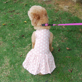 Chic Pink or Blue Polka Dot Dog Dress w/Pleated Skirt