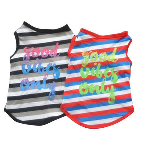 Good Vibes Only Striped Dog Vest