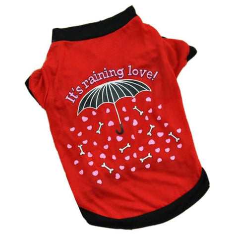 "Cute Red/Black ""It's Raining Love"" Graphic Tee"