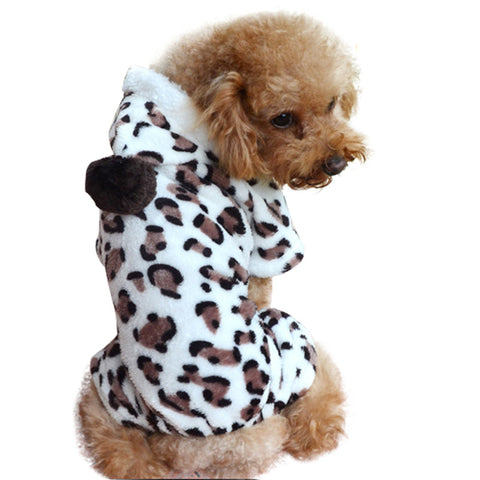 Adorable Leopard Print Fleece Dog Jumpsuit w/Hood