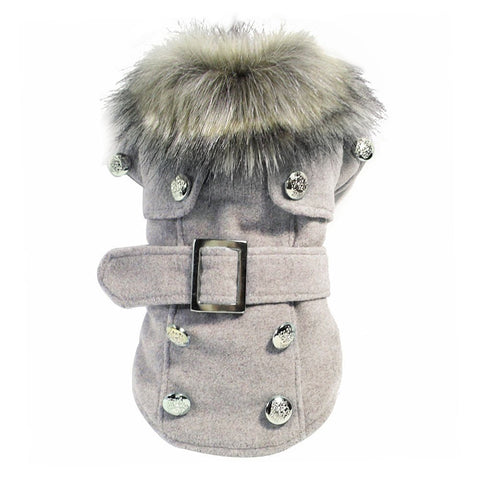 Chic Gray Fur Collar Dog Coat