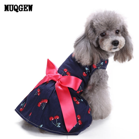 Girly Navy Blue Cherry Print Dog Dress