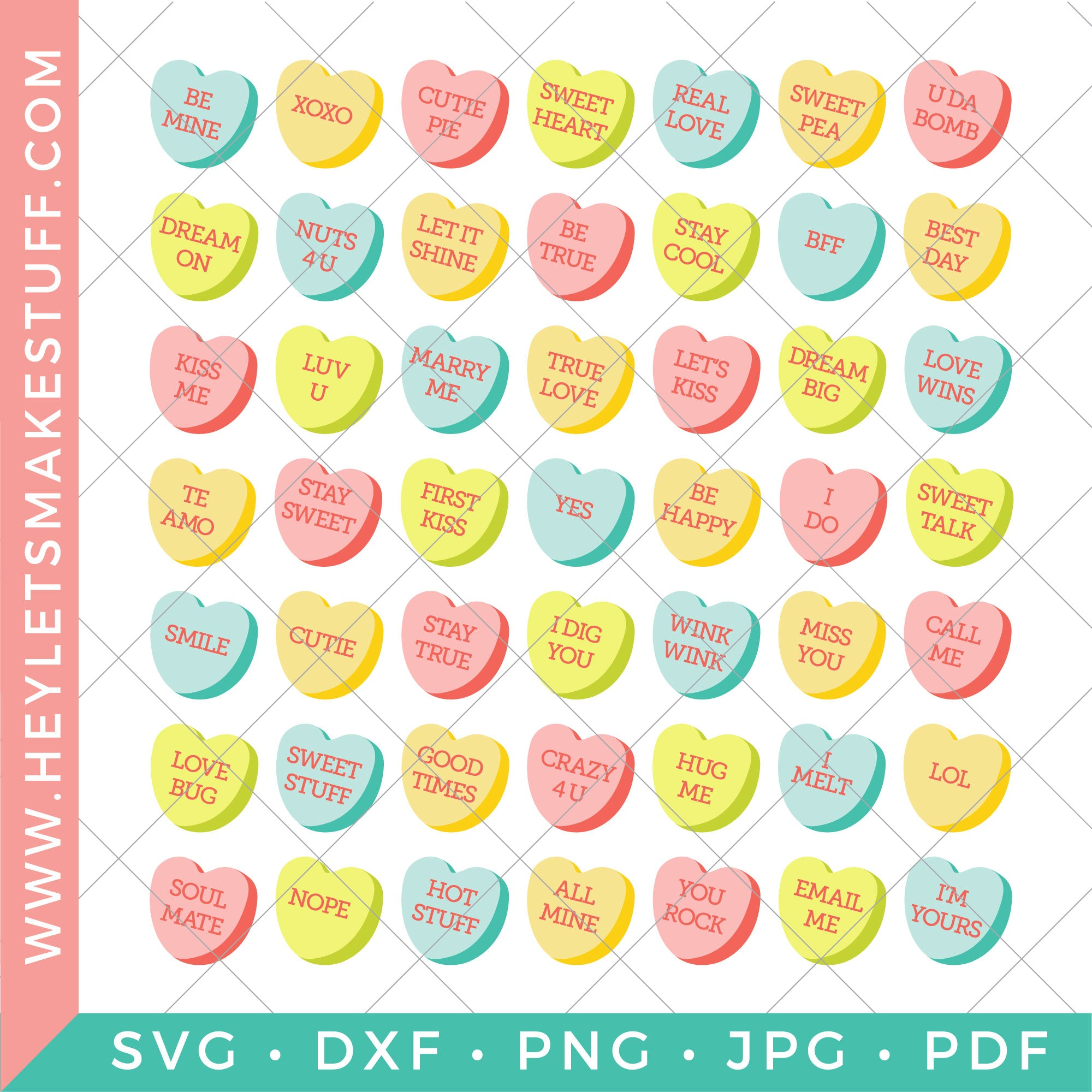 Conversation Candy Hearts Valentine's Day Clip Art by Pink Cat Studio