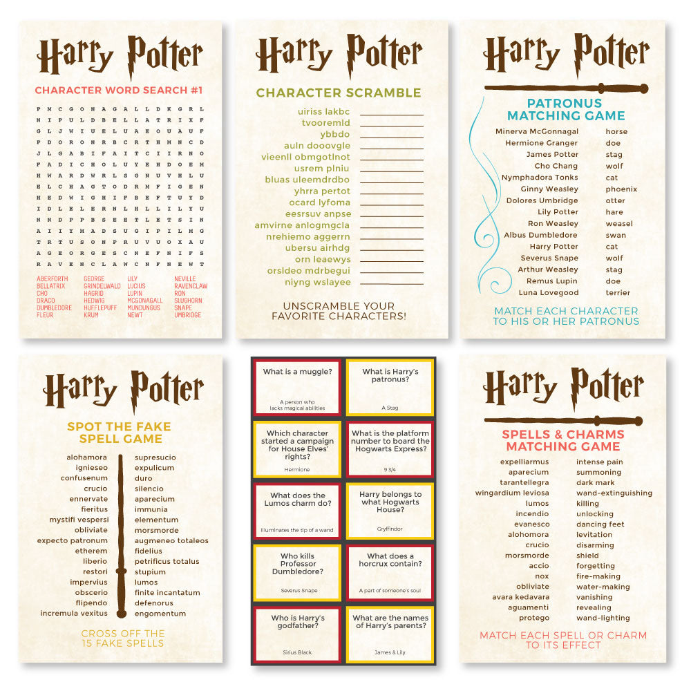Printable Harry Potter Games Bundle