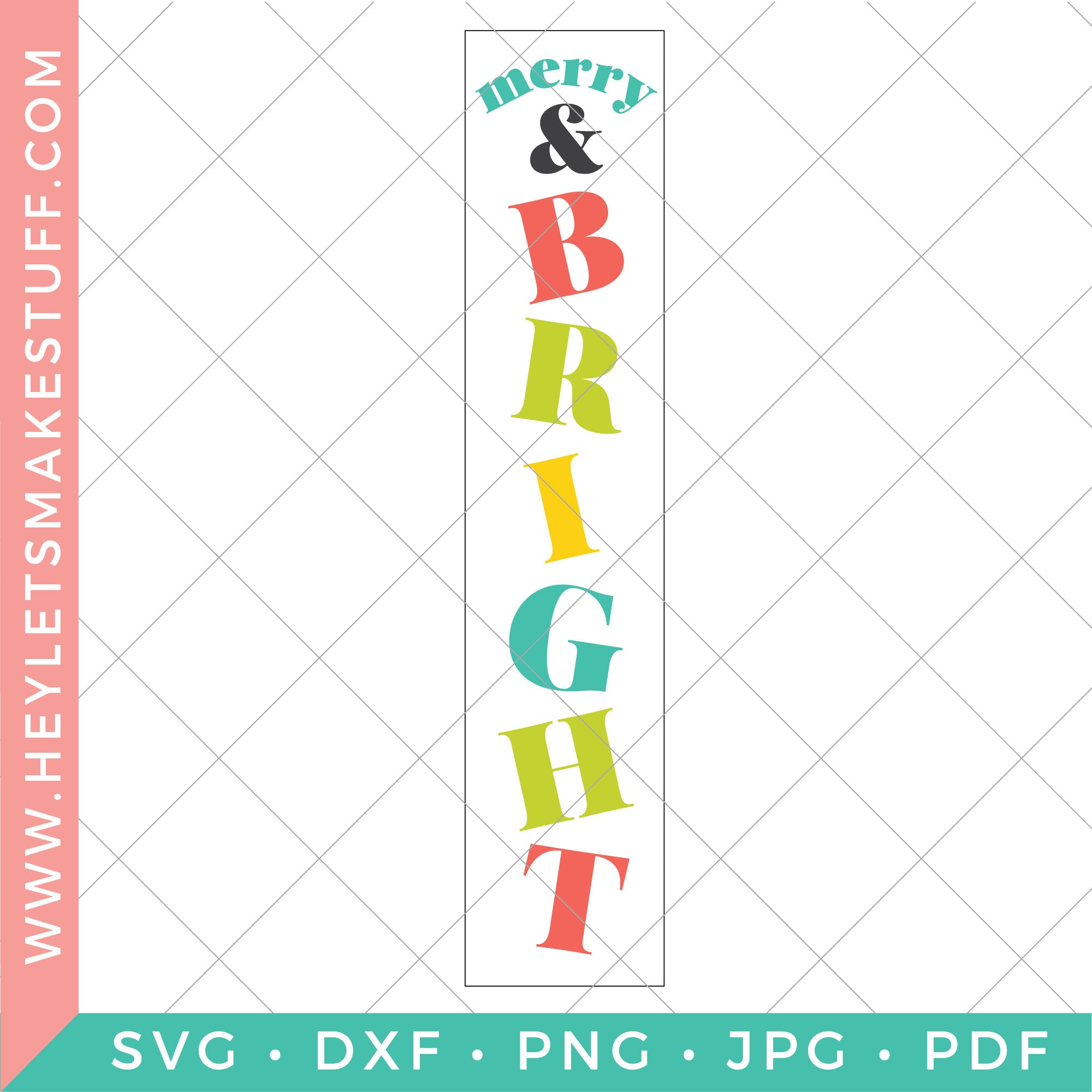 Merry & Bright Vertical Christmas Sign