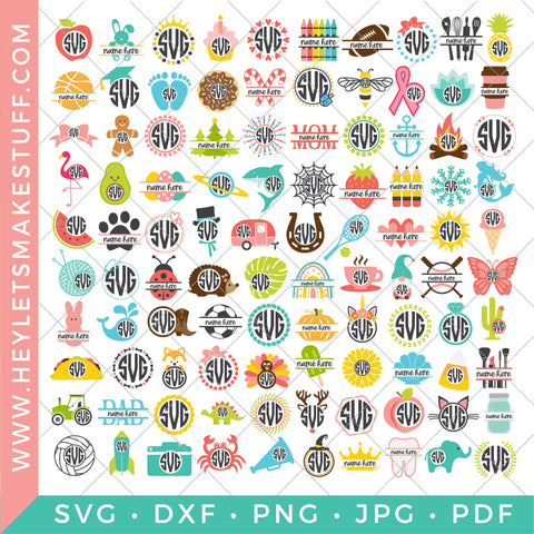 BIG Monogram Bundle - 100 SVG Files!