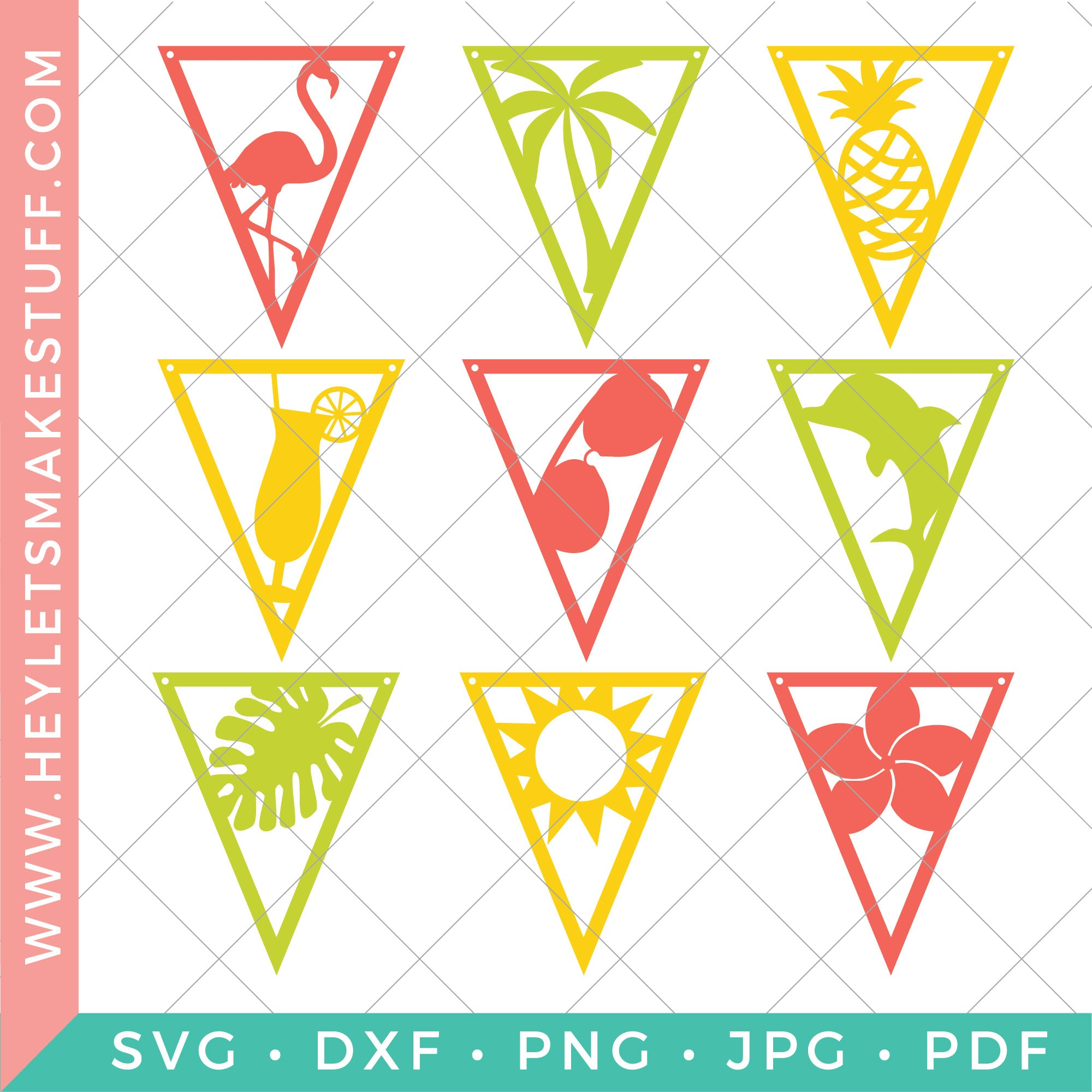 tropical themed party pennants hey let s make stuff