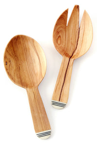 Olive Wood Spork + Scoop Salad Servers
