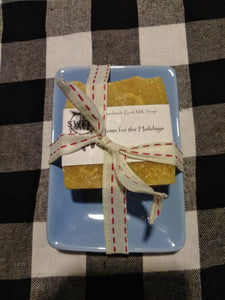 Home for the holidays goat milk soap in blue soap dish
