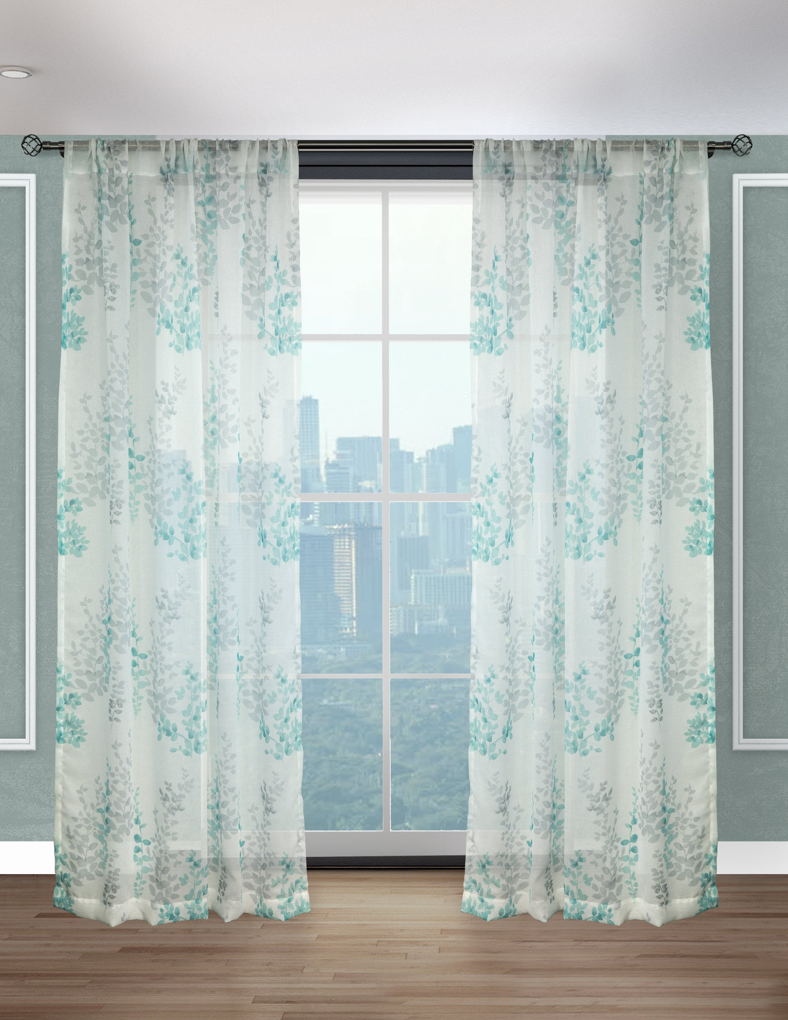 Daphne Printed Water Color Floral Sheer Panels (Sold in Pairs)