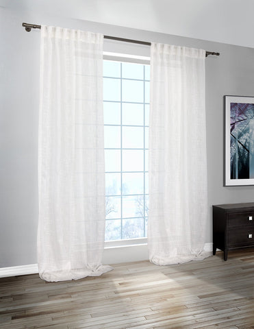 Karma Linen Look Sheer Curtain Panels (Sold in Pairs)