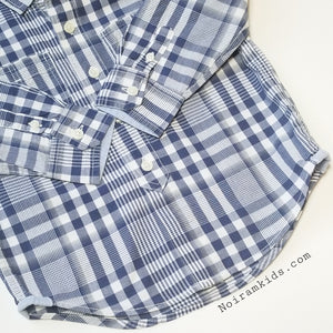 Baby Gap Boys Navy Blue Gingham Plaid Shirt 3T Used View 2
