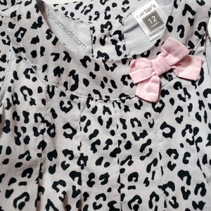 Carters Grey Leopard Print Girls Dress 12M Used View 3