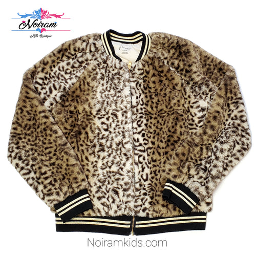 Art Class Leopard Faux Fur Girls Jacket Used View 1