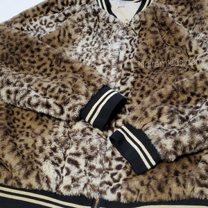 Art Class Leopard Faux Fur Girls Jacket Used View 2