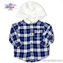 Load image into Gallery viewer, Carters Blue White Boys Hooded Flannel Shirt 6M Used View 1