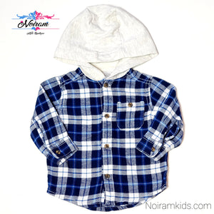 Carters Blue White Boys Hooded Flannel Shirt 6M Used View 1
