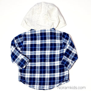 Carters Blue White Boys Hooded Flannel Shirt 6M Used View 2
