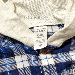 Carters Blue White Boys Hooded Flannel Shirt 6M Used View 3