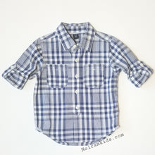 Load image into Gallery viewer, Baby Gap Boys Navy Blue Gingham Plaid Shirt 3T Used View 3