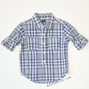 Baby Gap Boys Navy Blue Gingham Plaid Shirt 3T Used View 3
