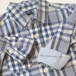 Baby Gap Boys Navy Blue Gingham Plaid Shirt 3T Used View 4