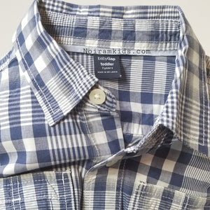 Baby Gap Boys Navy Blue Gingham Plaid Shirt 3T Used View 5