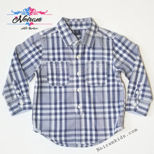 Load image into Gallery viewer, Baby Gap Boys Navy Blue Gingham Plaid Shirt 3T Used