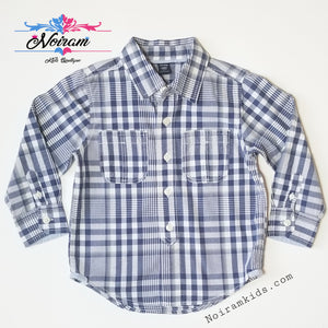 Baby Gap Boys Navy Blue Gingham Plaid Shirt 3T Used