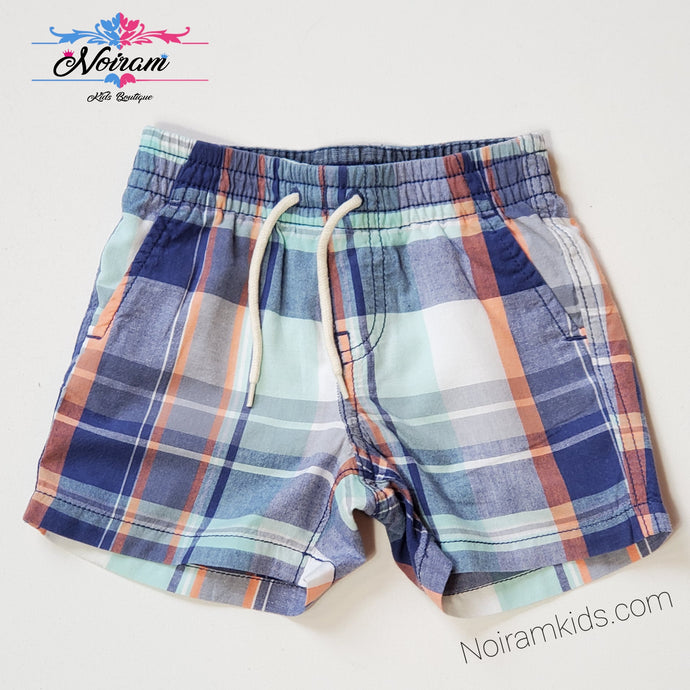 Baby Gap Boys Blue Plaid Shorts 18M Used