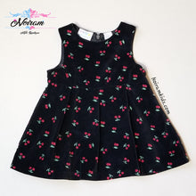 Load image into Gallery viewer, Miniwear Baby Girls Black Velvet Cherry Dress 18M Used