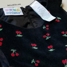 Load image into Gallery viewer, Miniwear Baby Girls Black Velvet Cherry Dress 18M Used View 4