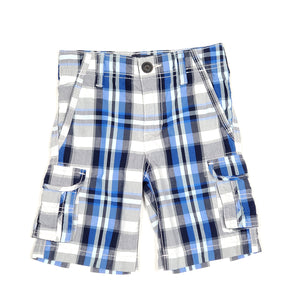 Oshkosh Boys Blue Black Plaid Cargo Shorts 4T Used View 1