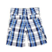 Load image into Gallery viewer, Oshkosh Boys Blue Black Plaid Cargo Shorts 4T Used View 2