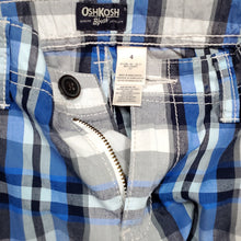 Load image into Gallery viewer, Oshkosh Boys Blue Black Plaid Cargo Shorts 4T Used View 3