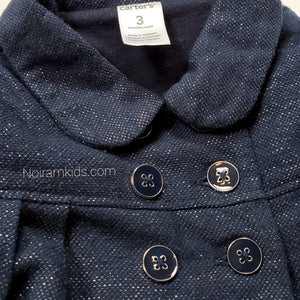 Navy Blue Carters Girls Peacoat 3M Used View 3
