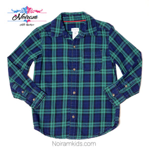 Carters Blue Green Plaid Boys Shirt 4T Used View 1