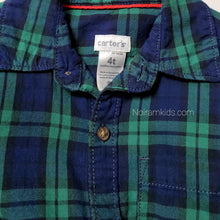 Load image into Gallery viewer, Carters Blue Green Plaid Boys Shirt 4T Used View 3