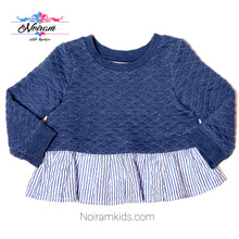 Load image into Gallery viewer, Genuine Kids Oshkosh Blue Peplum Girls Top 12M Used View 1