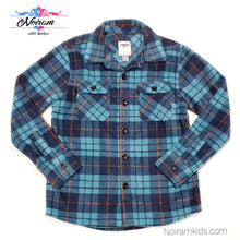 Load image into Gallery viewer, Old Navy Blue Plaid Fleece Boys Shirt Size 8 NWT View 1