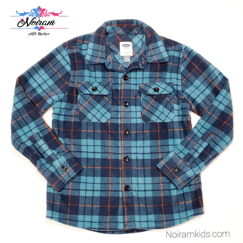 Old Navy Blue Plaid Fleece Boys Shirt Size 8 NWT View 1
