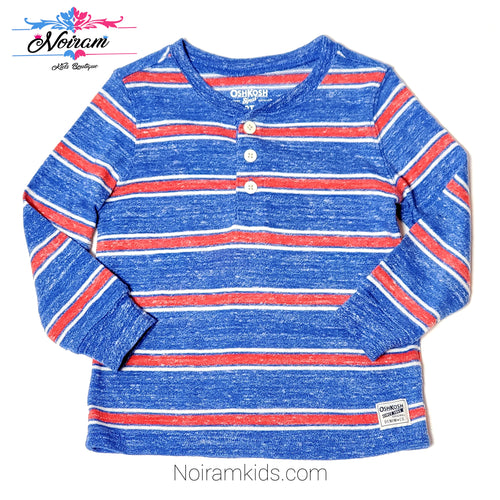 Oshkosh Blue Red Thermal Henley Boys Shirt 3T Used View 1