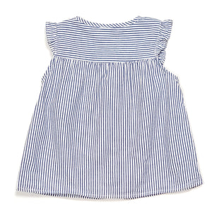 HM Girls Blue Striped Floral Top 9M Used View 2