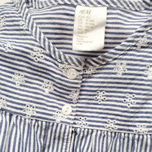 Load image into Gallery viewer, HM Girls Blue Striped Floral Top 9M Used View 3