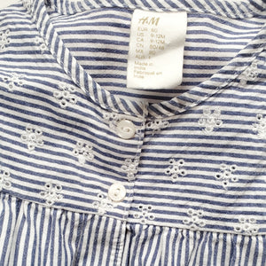 HM Girls Blue Striped Floral Top 9M Used View 3