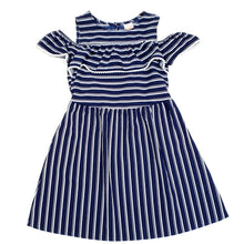 Load image into Gallery viewer, Wonder Nation Girls Blue Striped Dress Size 7 Used View 1